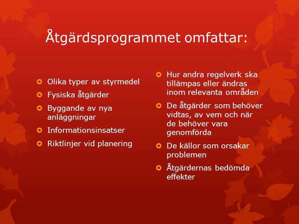 Åtgärdsprogrammet omfattar: