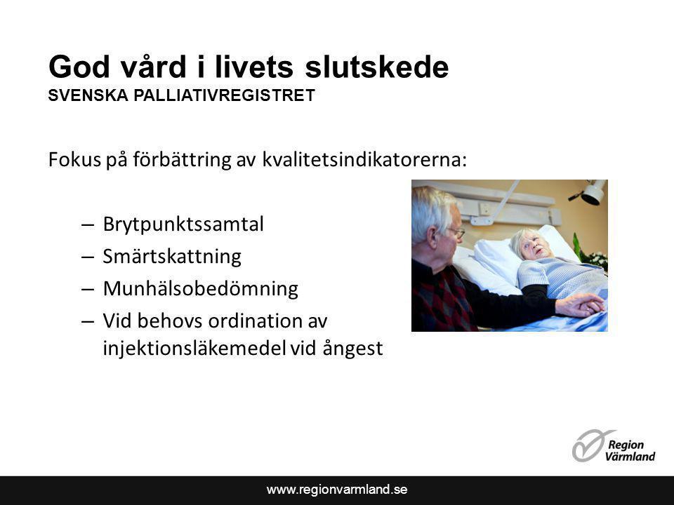 God vård i livets slutskede SVENSKA PALLIATIVREGISTRET
