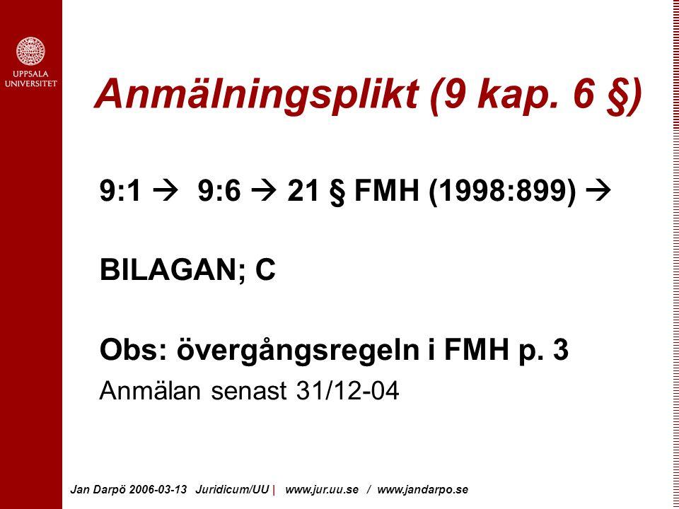 Anmälningsplikt (9 kap. 6 §)