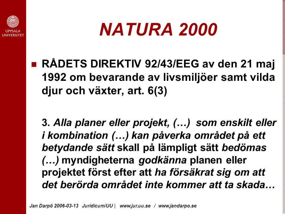 NATURA 2000 RÅDETS DIREKTIV 92/43/EEG av den 21 maj 1992 om bevarande av livsmiljöer samt vilda djur och växter, art. 6(3)