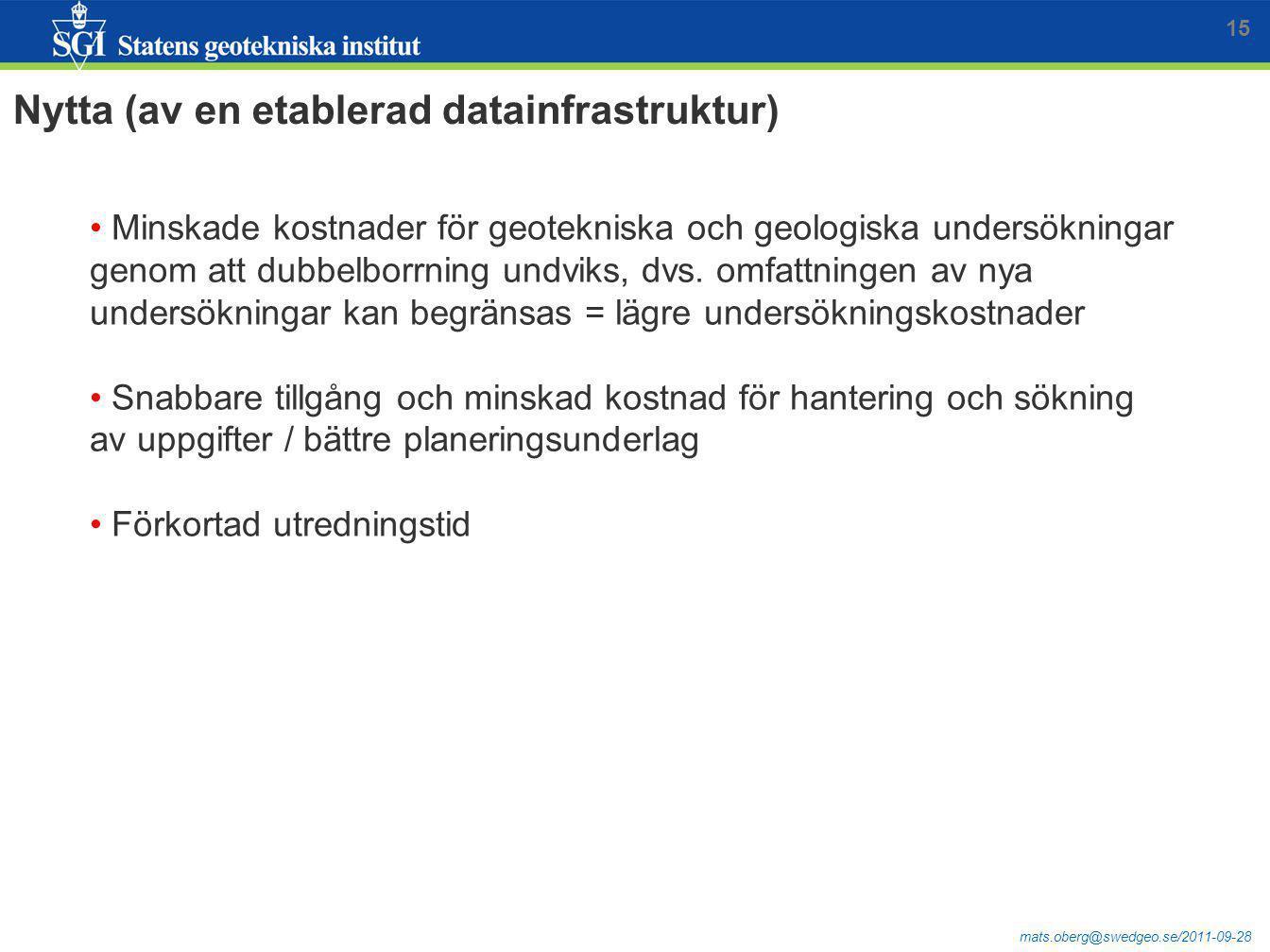 Nytta (av en etablerad datainfrastruktur)