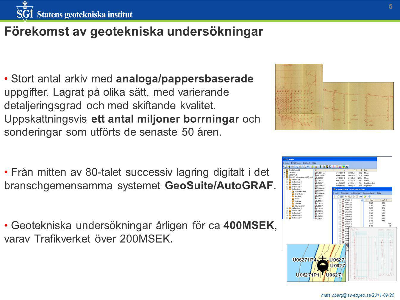 Förekomst av geotekniska undersökningar