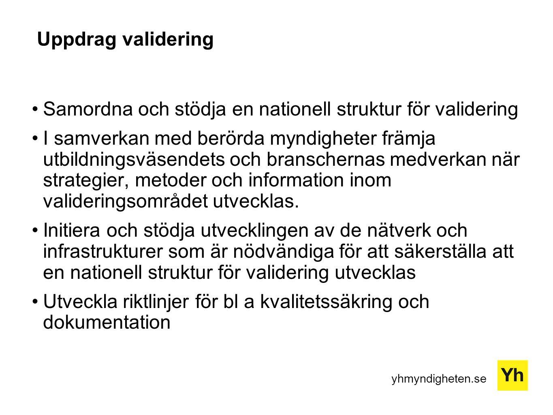 Uppdrag validering Samordna och stödja en nationell struktur för validering.