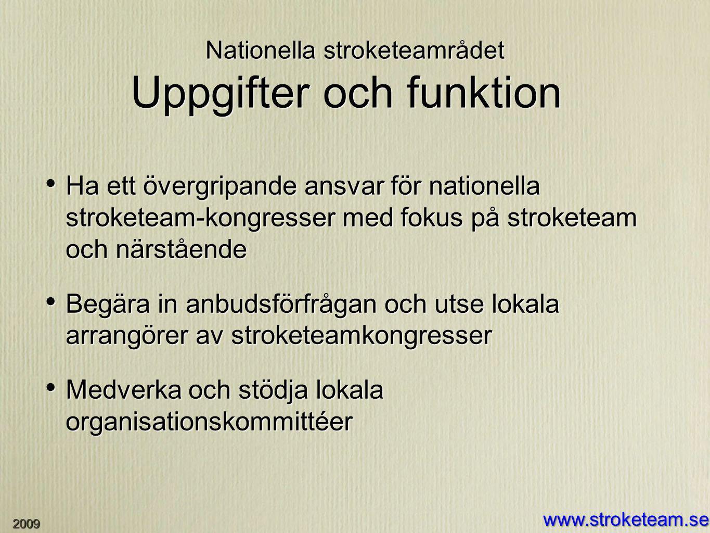 Nationella stroketeamrådet Uppgifter och funktion