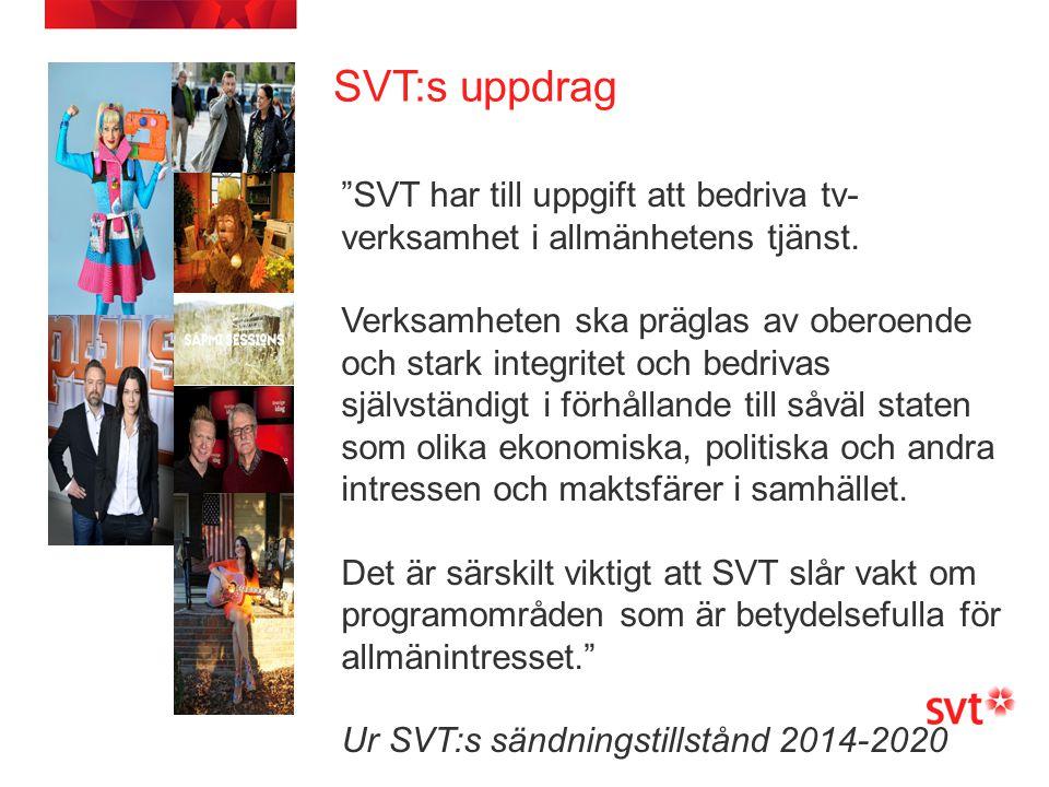 SVT:s uppdrag SVT har till uppgift att bedriva tv-verksamhet i allmänhetens tjänst.