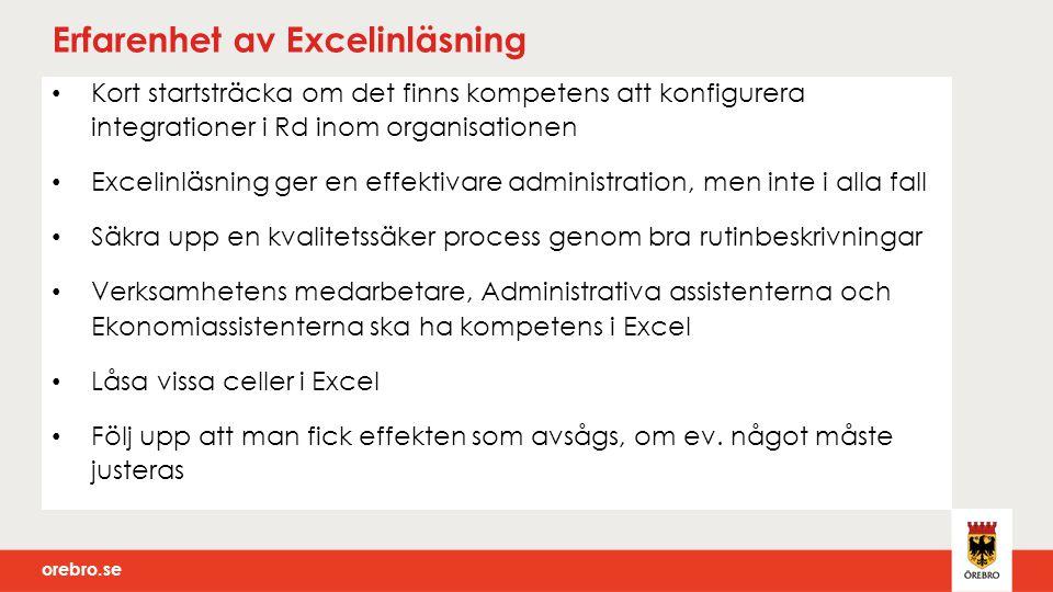 Erfarenhet av Excelinläsning