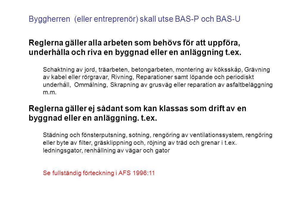 Byggherren (eller entreprenör) skall utse BAS-P och BAS-U