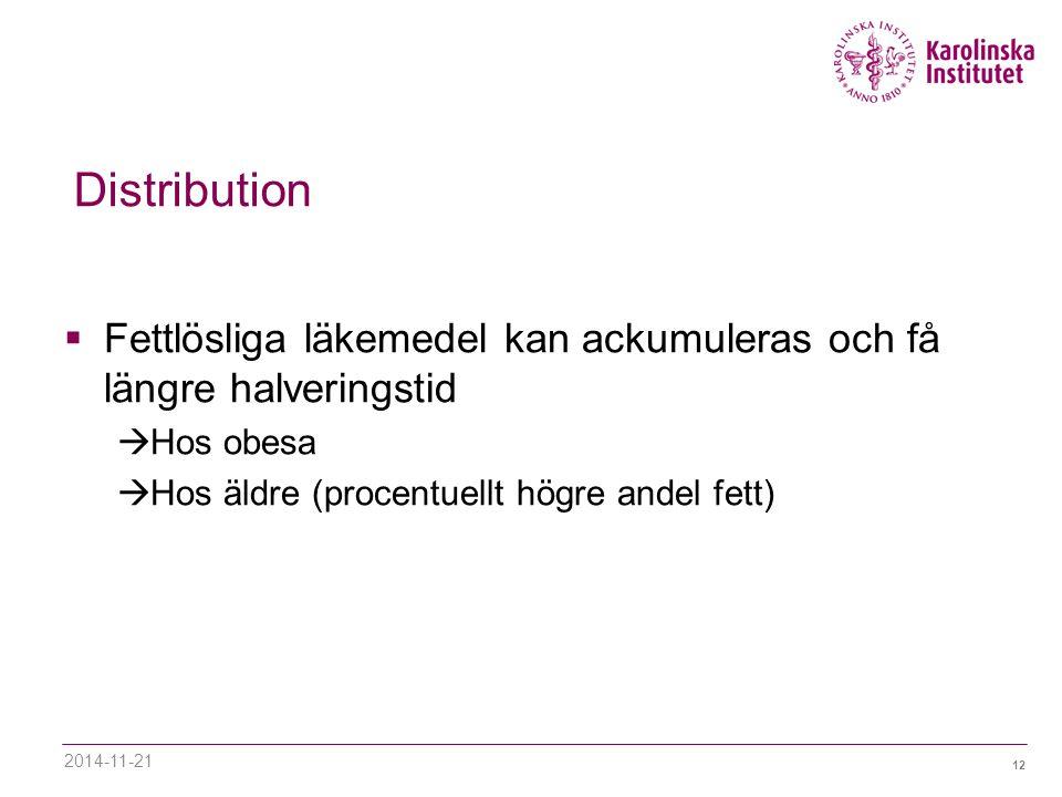 Distribution Fettlösliga läkemedel kan ackumuleras och få längre halveringstid. Hos obesa. Hos äldre (procentuellt högre andel fett)