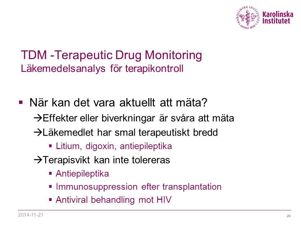 TDM -Terapeutic Drug Monitoring Läkemedelsanalys för terapikontroll