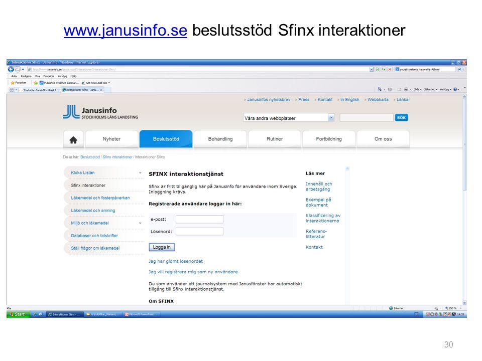 www.janusinfo.se beslutsstöd Sfinx interaktioner