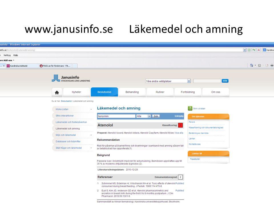 www.janusinfo.se Läkemedel och amning
