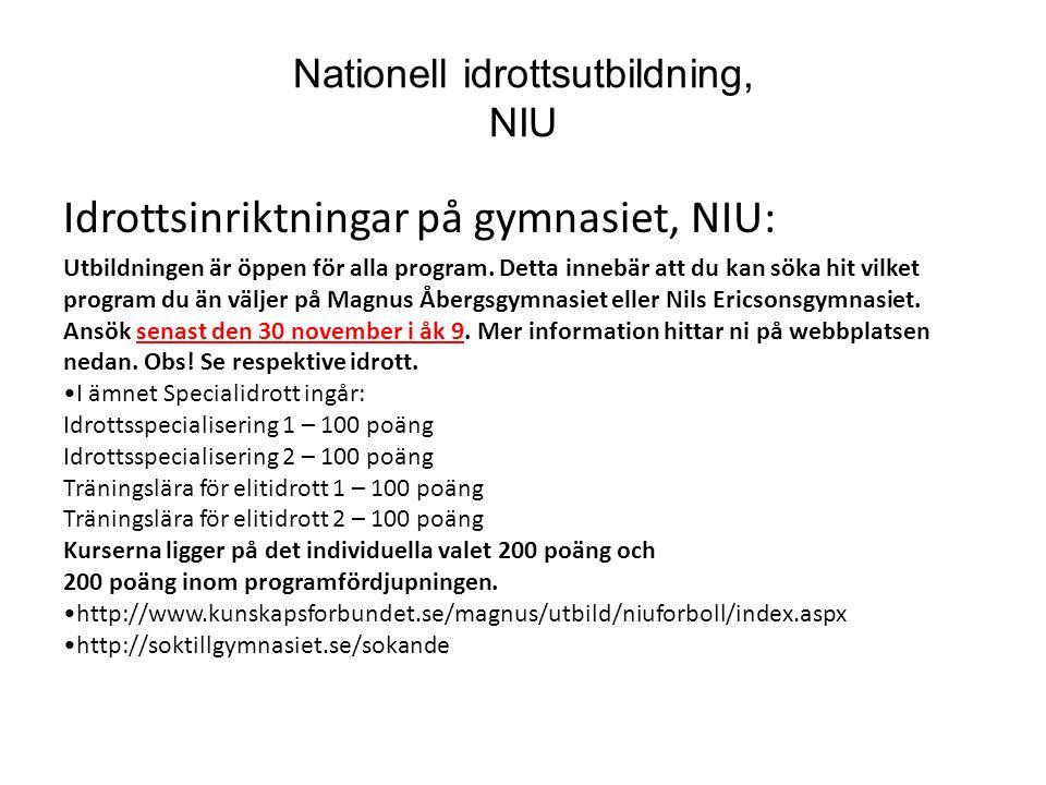 Nationell idrottsutbildning, NIU