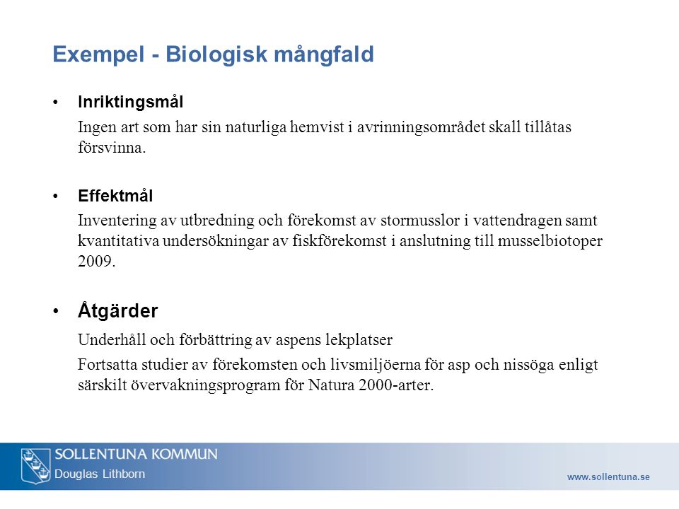 Exempel - Biologisk mångfald