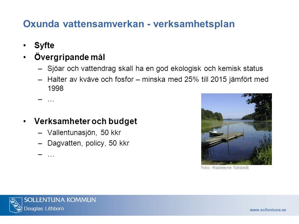 Oxunda vattensamverkan - verksamhetsplan