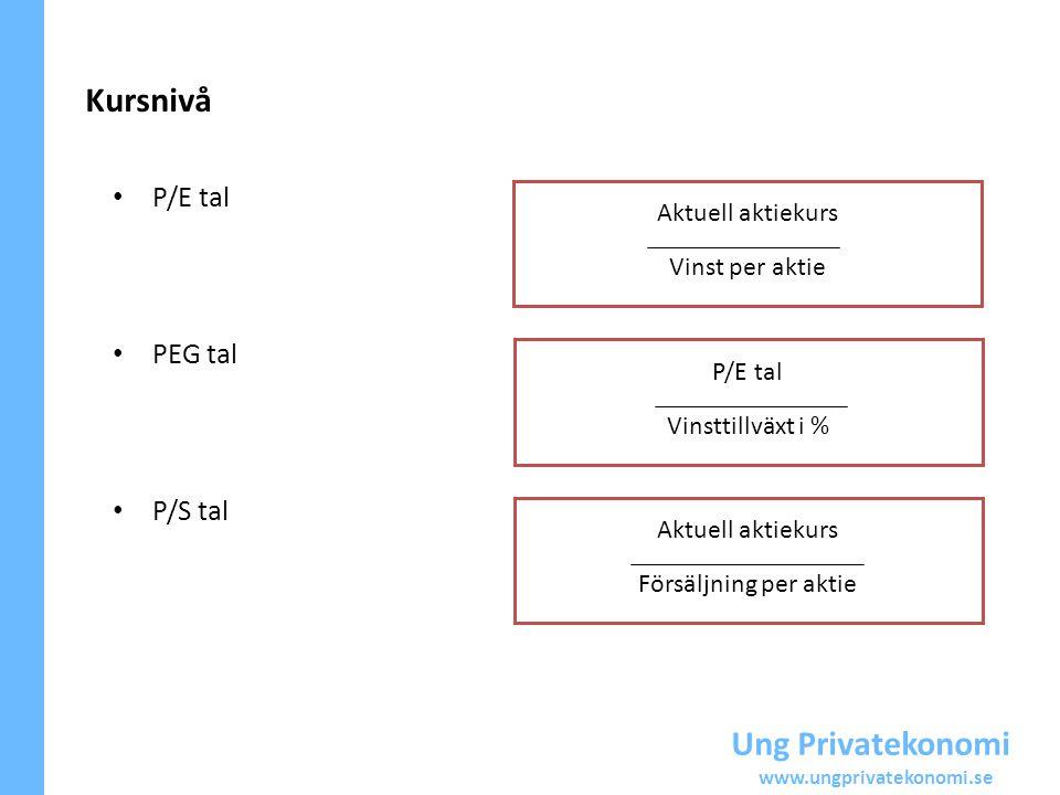 Kursnivå Ung Privatekonomi P/E tal PEG tal P/S tal Aktuell aktiekurs