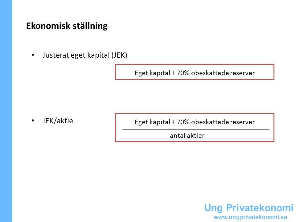 Ekonomisk ställning Ung Privatekonomi Justerat eget kapital (JEK)