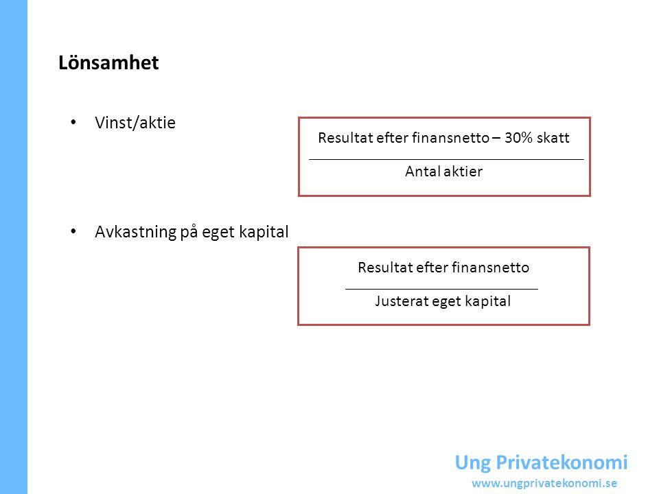 Lönsamhet Ung Privatekonomi Vinst/aktie Avkastning på eget kapital