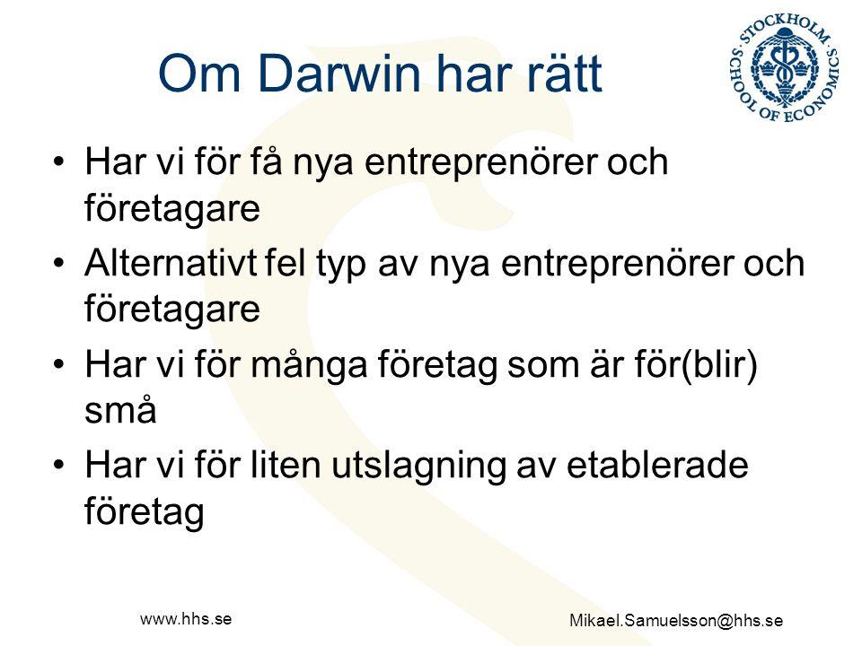 Om Darwin har rätt Har vi för få nya entreprenörer och företagare