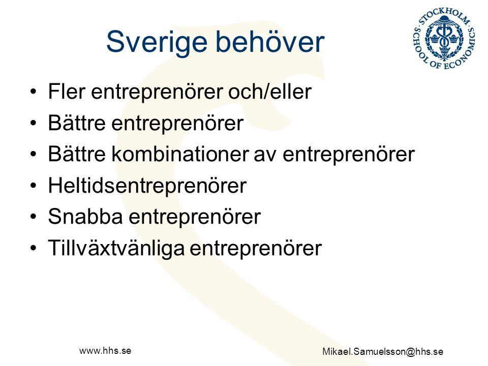 Sverige behöver Fler entreprenörer och/eller Bättre entreprenörer