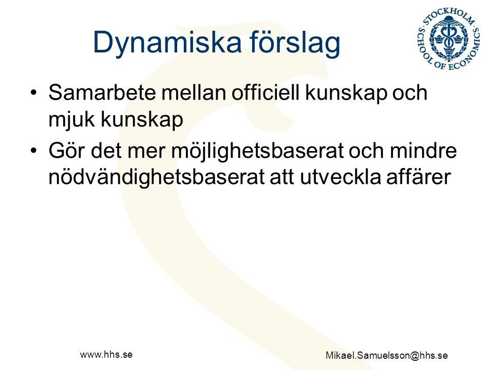 Dynamiska förslag Samarbete mellan officiell kunskap och mjuk kunskap