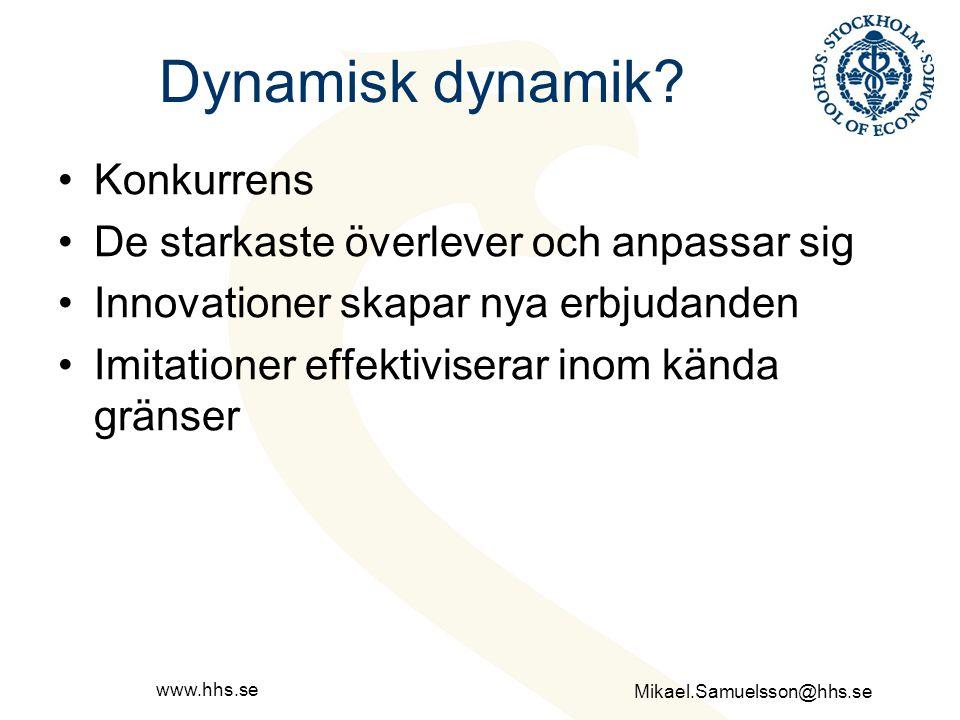 Dynamisk dynamik Konkurrens De starkaste överlever och anpassar sig