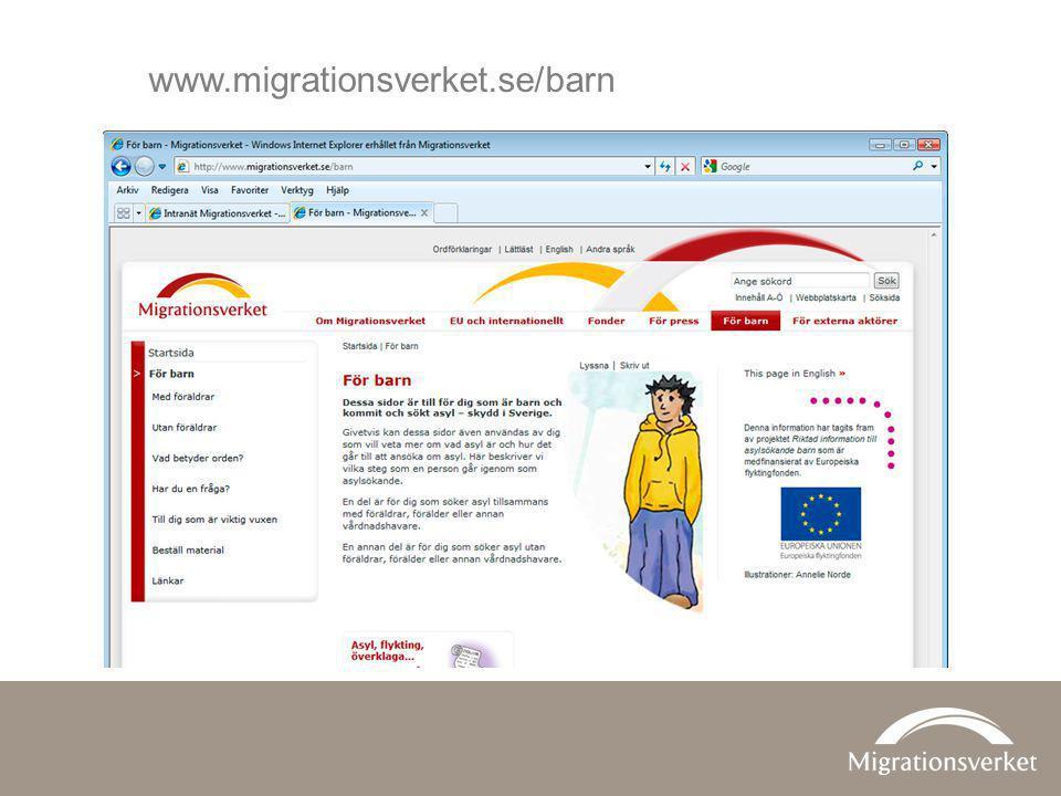 www.migrationsverket.se/barn Migrationsverkets sidor för barn.