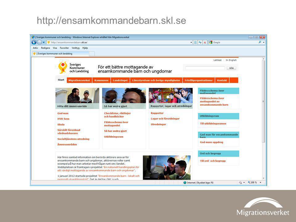 http://ensamkommandebarn.skl.se SKL:s sidor För ett bättre mottagande av ensamkommande barn och ungdomar.