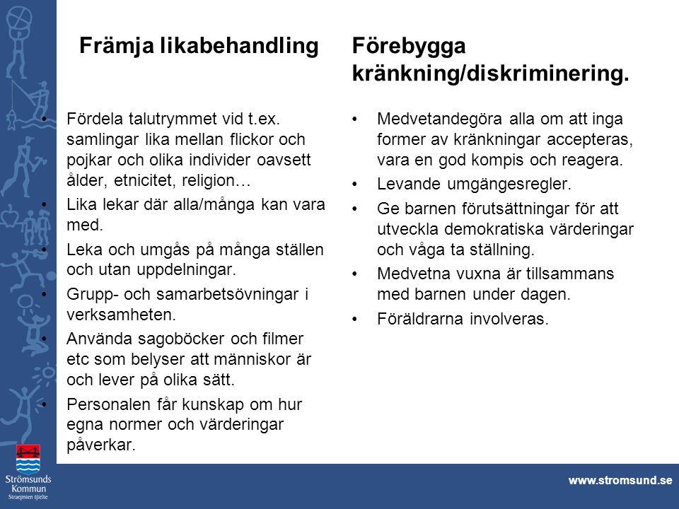 Främja likabehandling Förebygga kränkning/diskriminering.