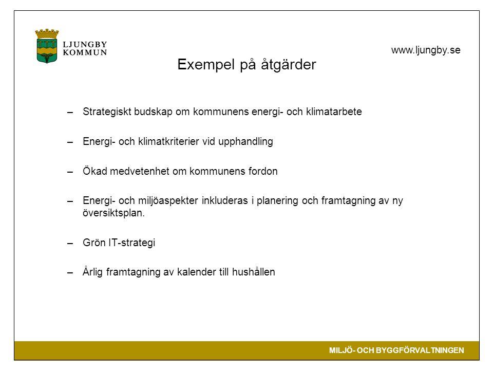 Exempel på åtgärder Strategiskt budskap om kommunens energi- och klimatarbete. Energi- och klimatkriterier vid upphandling.