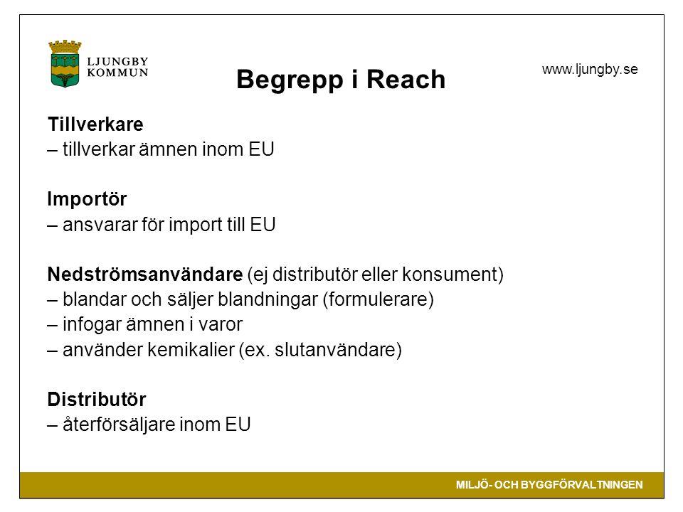 Begrepp i Reach Tillverkare – tillverkar ämnen inom EU Importör