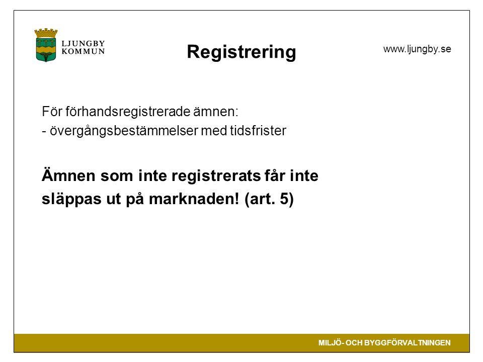 Registrering Ämnen som inte registrerats får inte