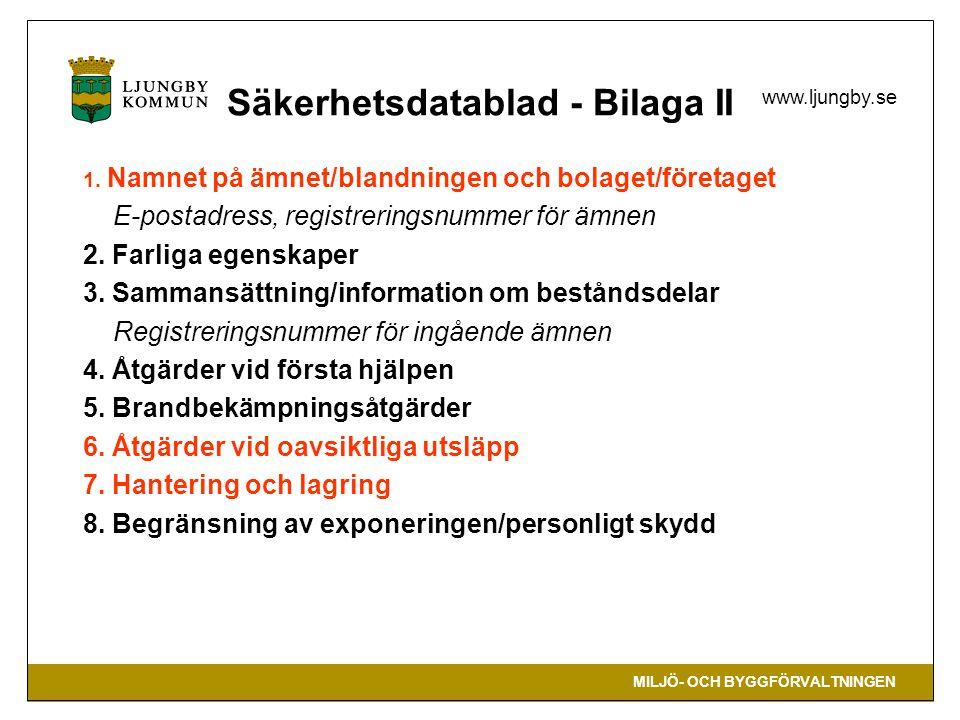 Säkerhetsdatablad - Bilaga II