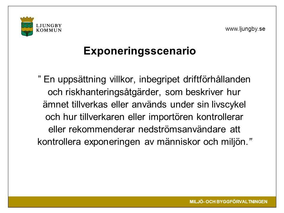 Exponeringsscenario En uppsättning villkor, inbegripet driftförhållanden. och riskhanteringsåtgärder, som beskriver hur.