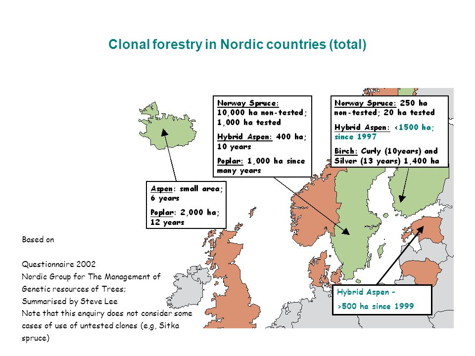 Clonal forestry in Nordic countries (total)