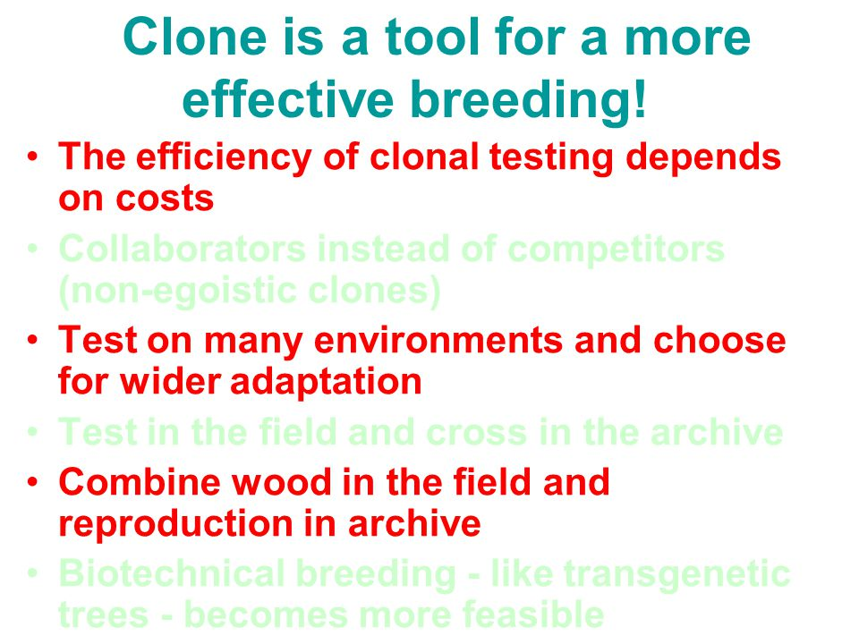Clone is a tool for a more effective breeding!
