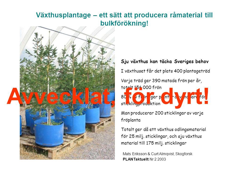 Växthusplantage – ett sätt att producera råmaterial till bulkförökning!