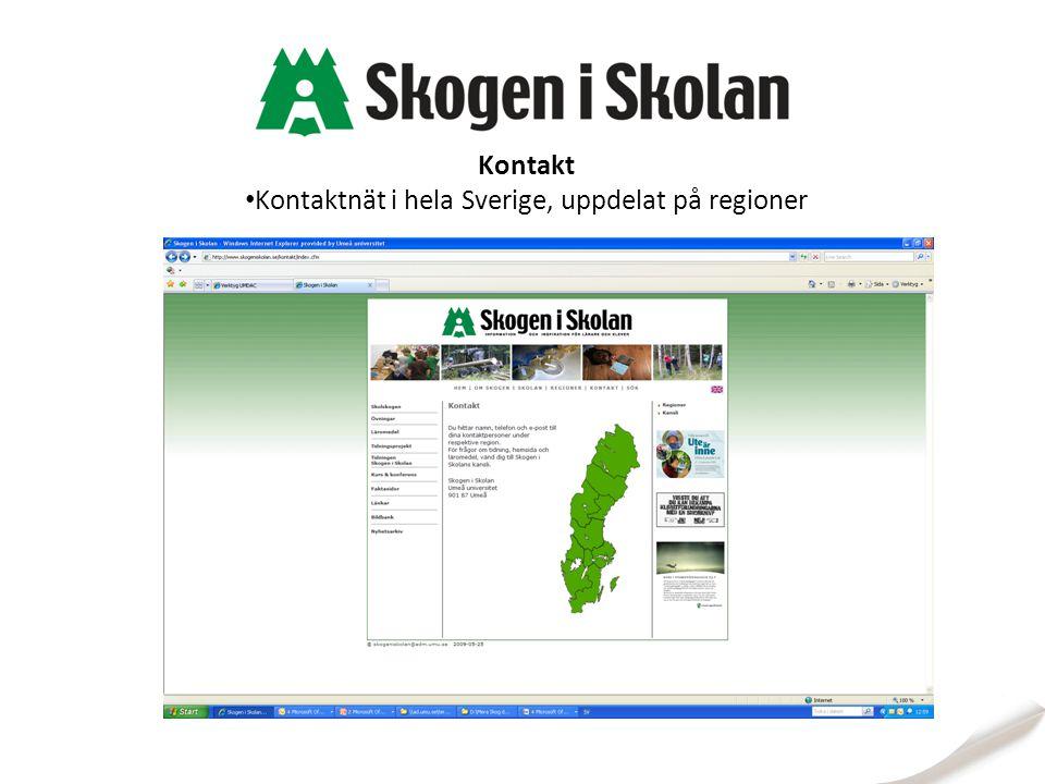 Kontaktnät i hela Sverige, uppdelat på regioner