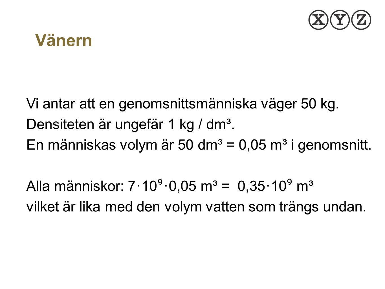 Vänern Vi antar att en genomsnittsmänniska väger 50 kg. Densiteten är ungefär 1 kg / dm³. En människas volym är 50 dm³ = 0,05 m³ i genomsnitt.
