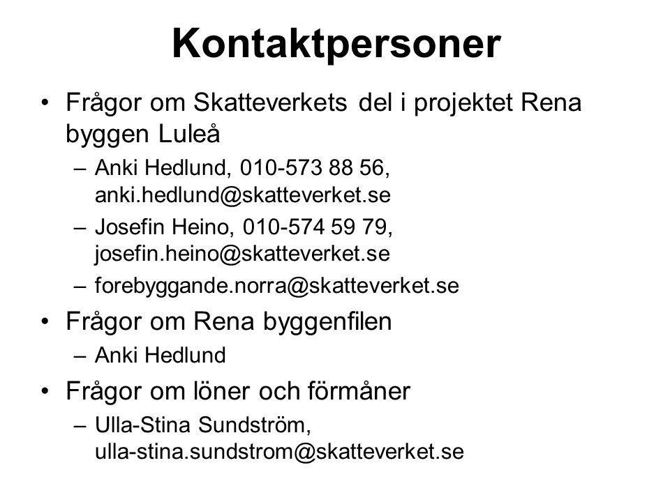 Kontaktpersoner Frågor om Skatteverkets del i projektet Rena byggen Luleå. Anki Hedlund, 010-573 88 56, anki.hedlund@skatteverket.se.