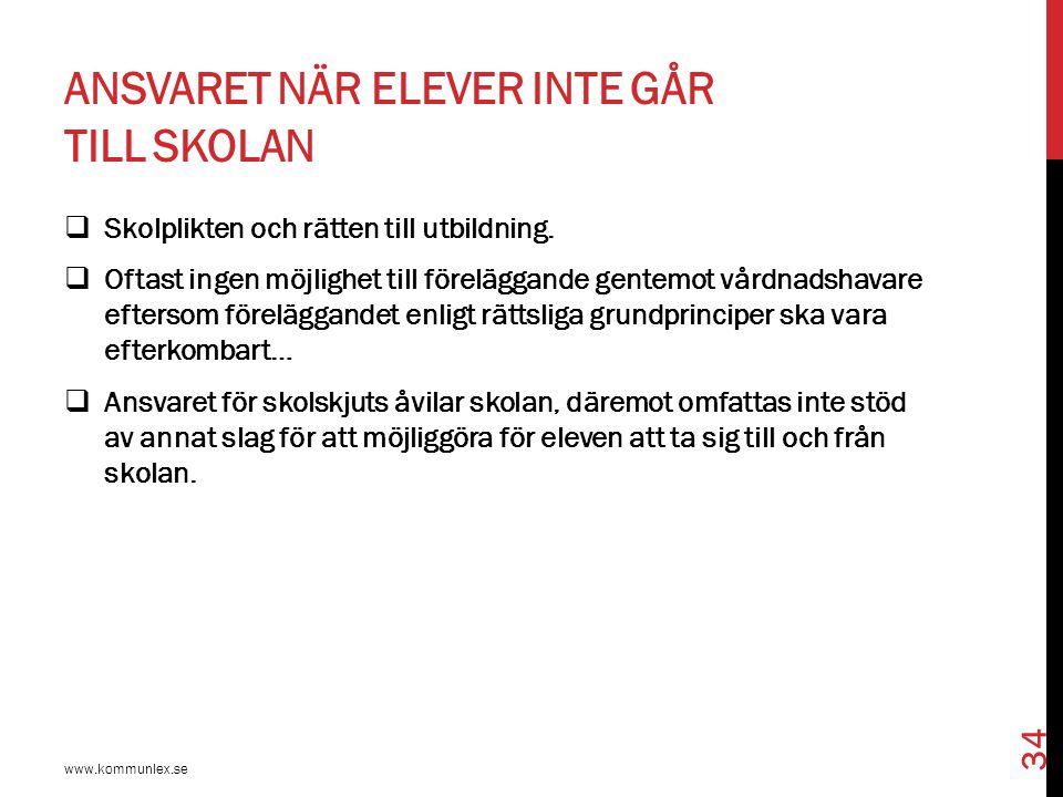 ANSVARET NÄR ELEVER INTE GÅR TILL SKOLAN