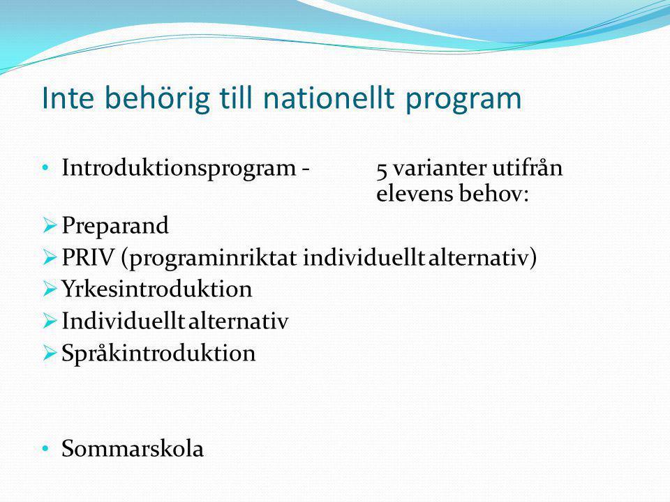 Inte behörig till nationellt program