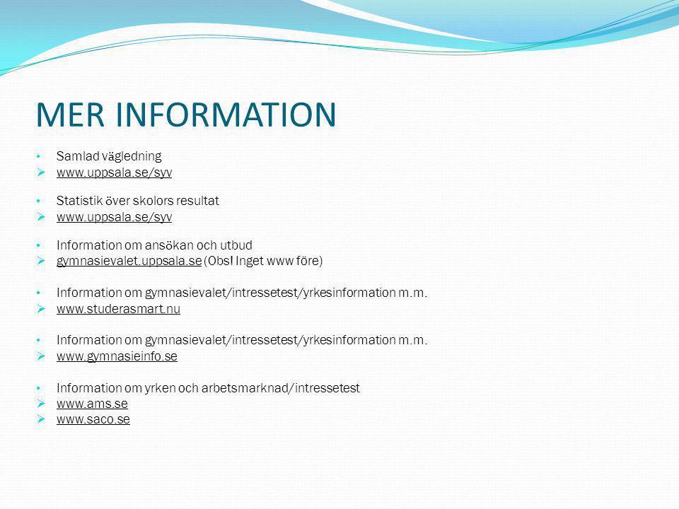 MER INFORMATION Samlad vägledning www.uppsala.se/syv