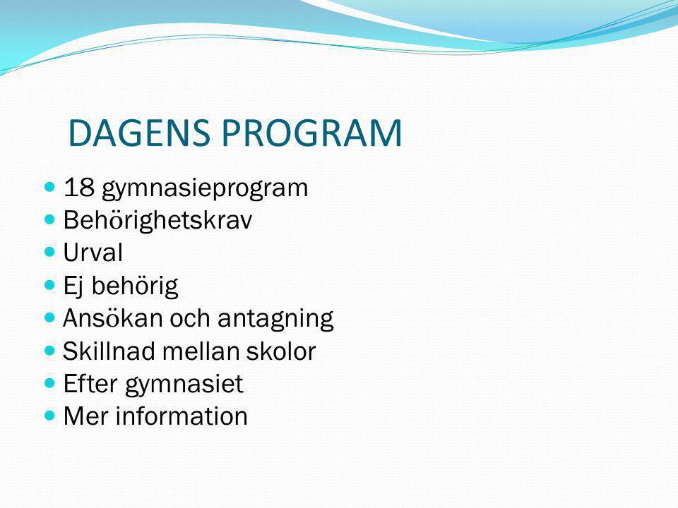 DAGENS PROGRAM 18 gymnasieprogram Behörighetskrav Urval Ej behörig