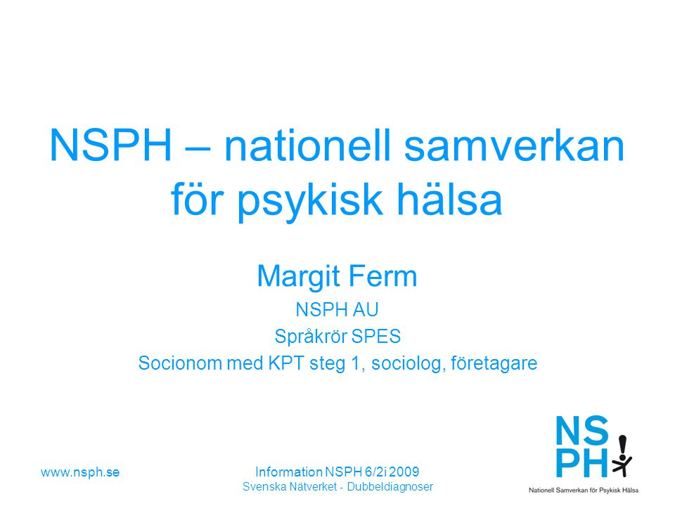 NSPH – nationell samverkan för psykisk hälsa