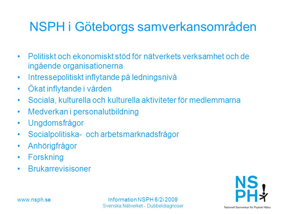 NSPH i Göteborgs samverkansområden