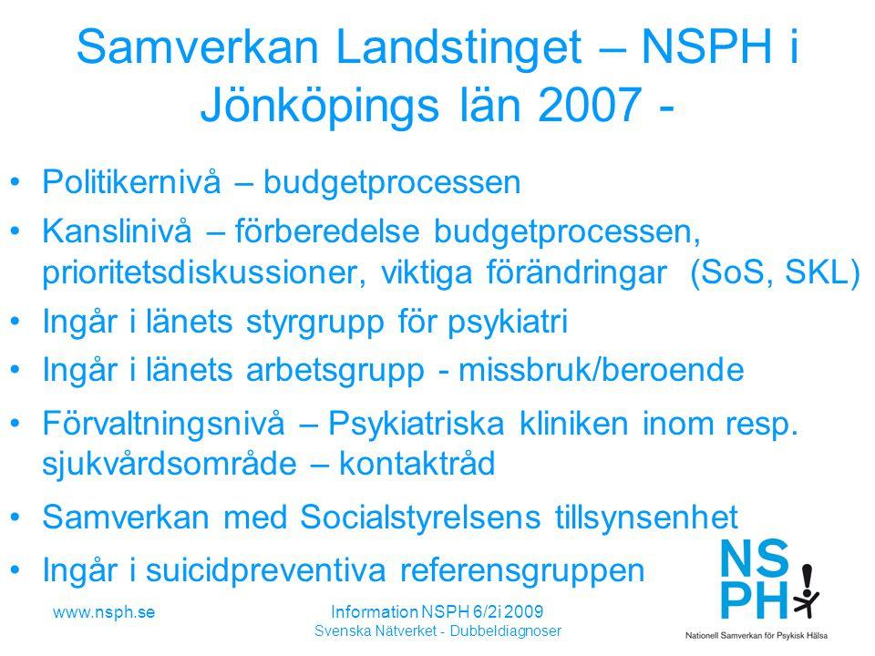 Samverkan Landstinget – NSPH i Jönköpings län 2007 -