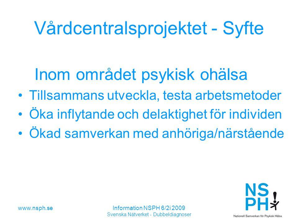 Vårdcentralsprojektet - Syfte