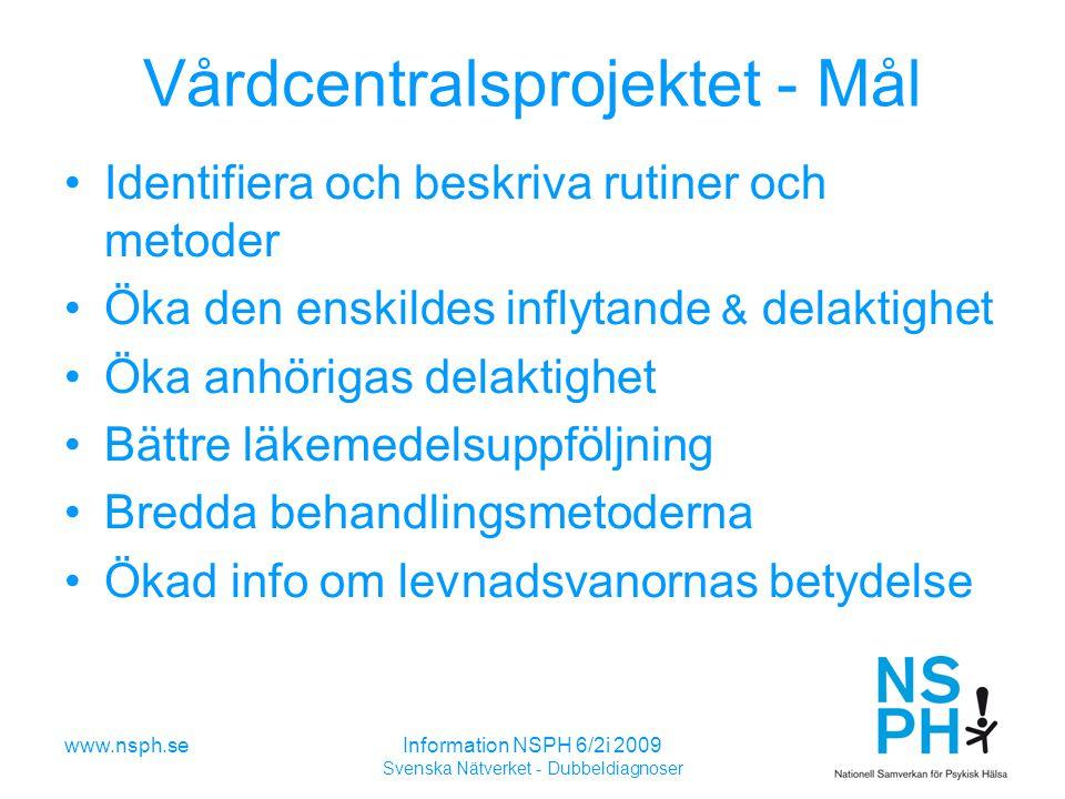 Vårdcentralsprojektet - Mål