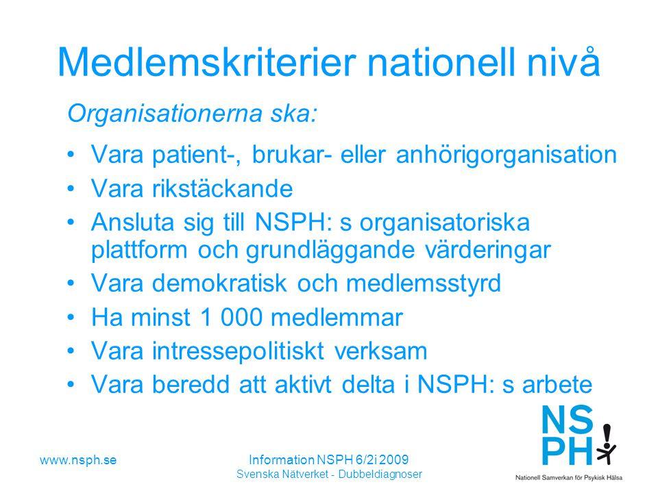 Medlemskriterier nationell nivå
