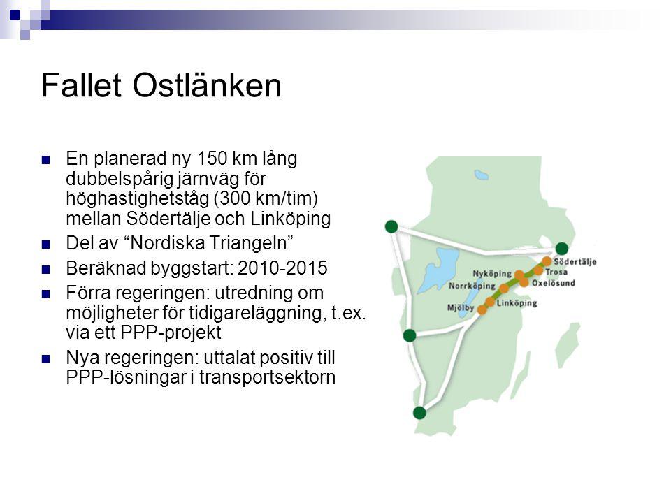 Fallet Ostlänken En planerad ny 150 km lång dubbelspårig järnväg för höghastighetståg (300 km/tim) mellan Södertälje och Linköping.